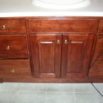 Cherry bathroom cabinets AFTER