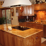 Oak and mappa burl kitchen cabinets